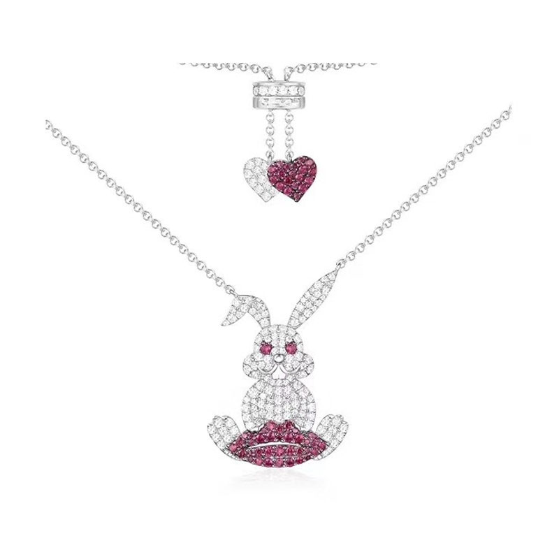 SLJELY 925 Sterling Silver Rabbit with Red Lip Pendant Necklace Pink Zircon Heart Chain Women Yao