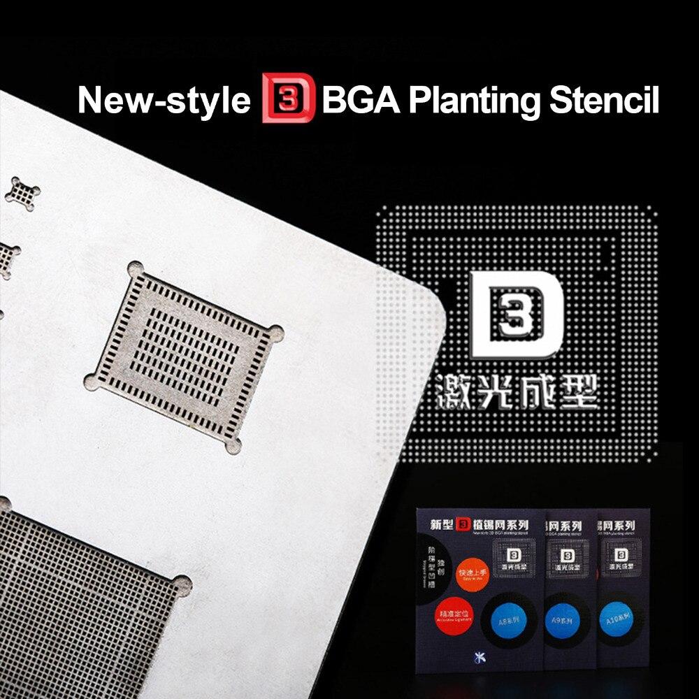 Kaisi 3D IC Chip BGA Reballing Stencil Kits Set A8 A9 A10 A11 Stencil Tin Plate Hand Tools For IPhone 6SPlus 7G X 8G 8P Series