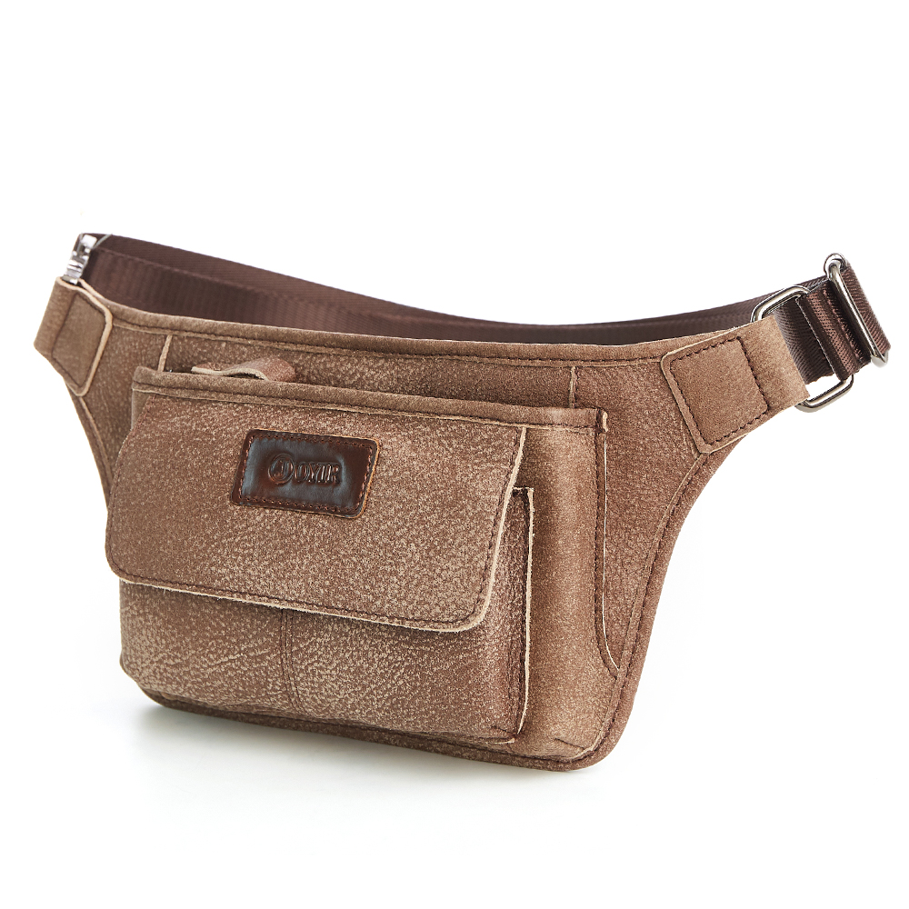 Mens Genuine Leather Chest Bag Crossbody Shoulder Bags Vintage Waist Bag  Messenger Bag Leather Bolsas For Male