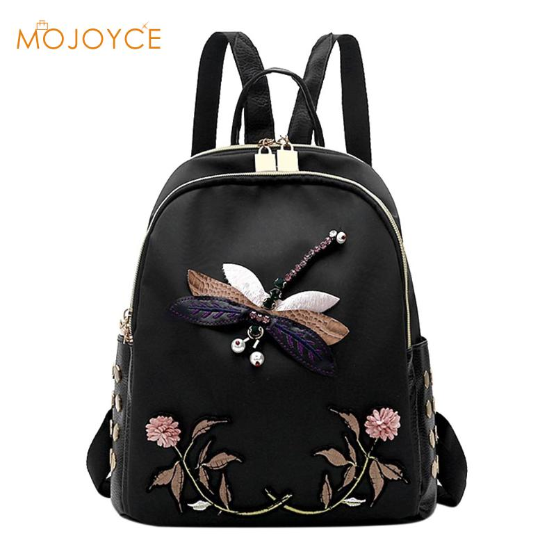 Handmade Embroidery New Fashion Women Backpack for Teenage Girls High Quality Designer Oxford Black Elegant Female Backpacks2017 a three dimensional embroidery of flowers trees and fruits chinese embroidery handmade art design book