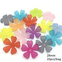 Meideheng Plastic Acrylic Translucent Dull Polish heart flowers Beads Fit Jewelry Handmade DIY Craft Accessories 28mm 35PCS/bag