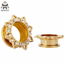 fashion gold stainelss steel  lotus crystal ear plugs tunnels piercing body jewelry gauges sell by pair