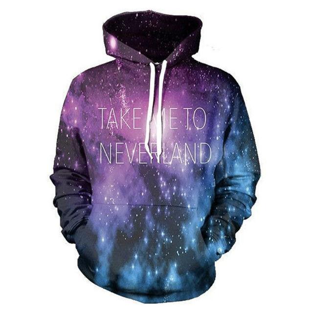 Nouveau Galaxy Hoodie Espace 3D Me Prendre À Neverland Drôle lettre  Imprimer Sweats Tops Sweat À 527ddcd7feb9