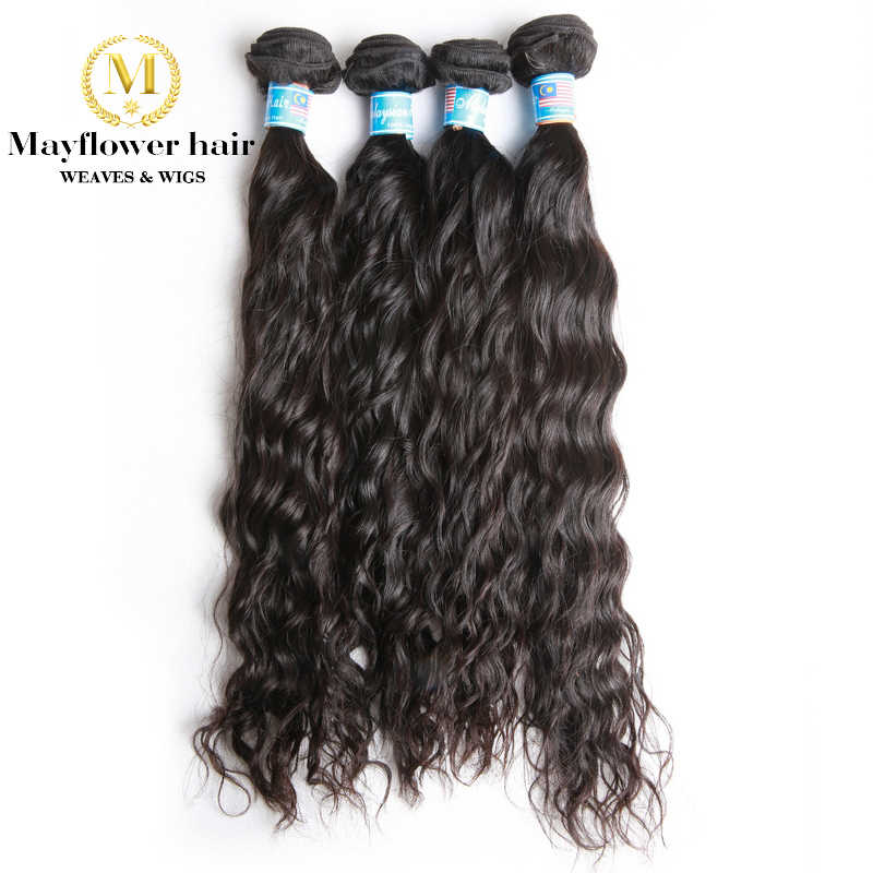 "Mayflower 1/2/3/4 bundles 100% Unprocessed Malaysian Raw virgin hair Water wave natural color from 12-24"" Free shipping"
