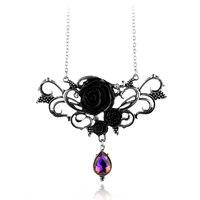 Extraordinario diseño negro rosas color cristal colgante collar señora Fashion floral Rose accesorios de ropa para Halloween regalo