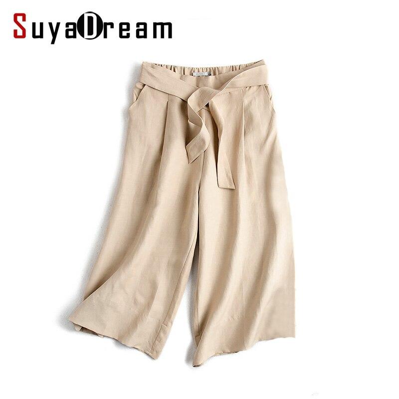 Women Wide leg pants 50%Real silk 50%Linen Fashion Loose pants Belted Elastic Waist under pants 2017 New KHAKI