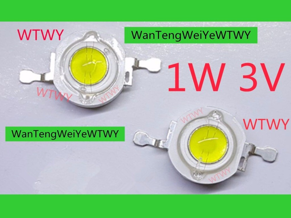 20 pcs Original LED de Alta Potência 1 W 3 V Cool white 6000-6500 K 100-120LM Aplicação de Iluminação