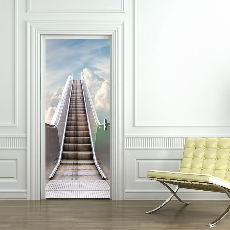 3D Ladder Scene Wall Sticker Decal Art Decor Vinyl Removable Mural Poster Window Door Living Room Bedroom Home Decoration