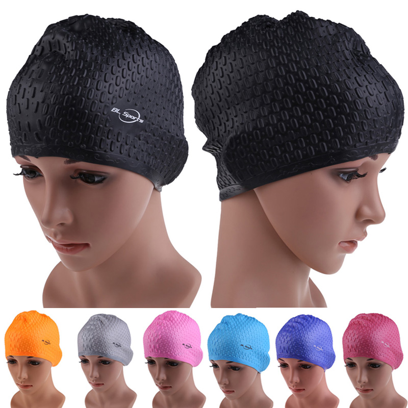 2019 Silicone Waterproof Swimming Caps Protect Ears Long Hair Sports Swim Pool Hat Swimming Cap Free size for Men & Women Adults