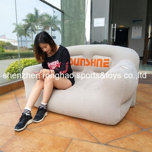 Image 3 - New Design Flocked PVC Inflatable Living Sofa Lounge Air Chair With Cup Holder Indoor Outdoor Double Seat Person Sofas