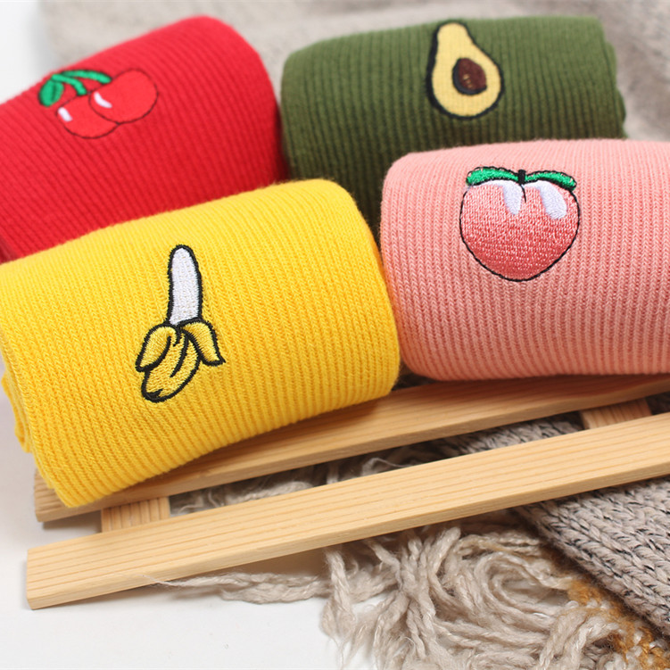 Harajuku Banana Cool Skateborad Short Rainbow Sock Art Fashion Cotton Hipster Cartoon Colored Ankle Socks Female SA-8