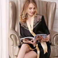 Натуральная шелковые халаты + ночные рубашки женские пикантные 100% шелк пижамы Для женщин Элегантный слинг спать платье халат из двух частей