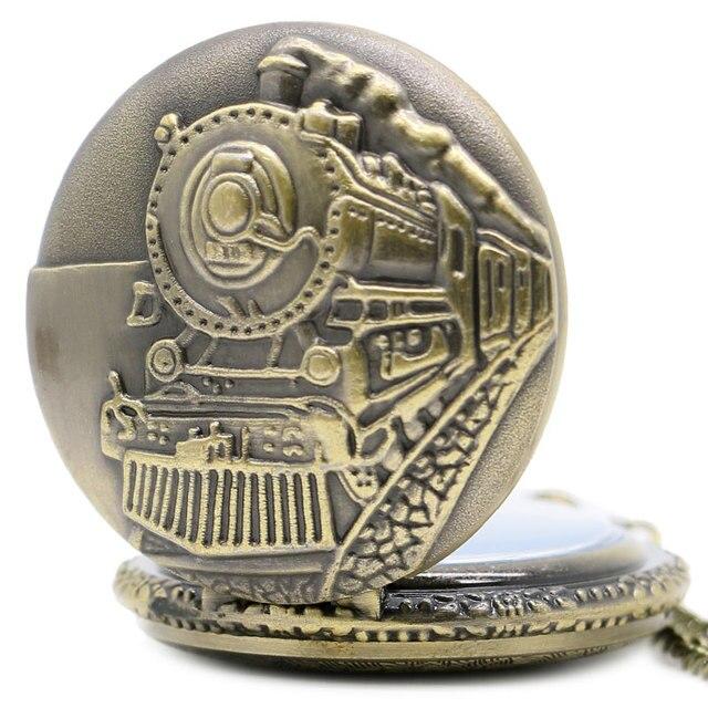 2014 New Antique Train Front Locomotive Engine Quartz Antique Pocket Watch for Men and Women P107