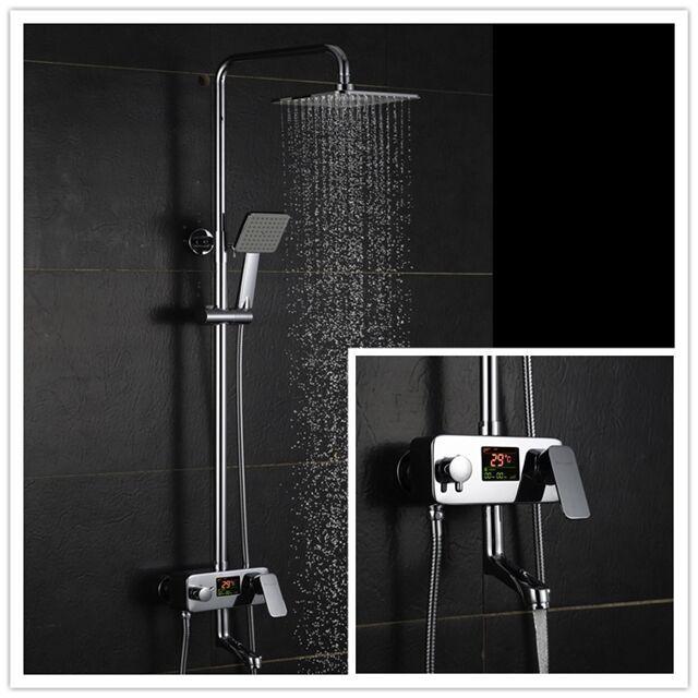 Height Adjustable High Tech Luxury Brass Digital Bathroom Shower Faucets  Set Mixer Tap Esmalte Kpah With