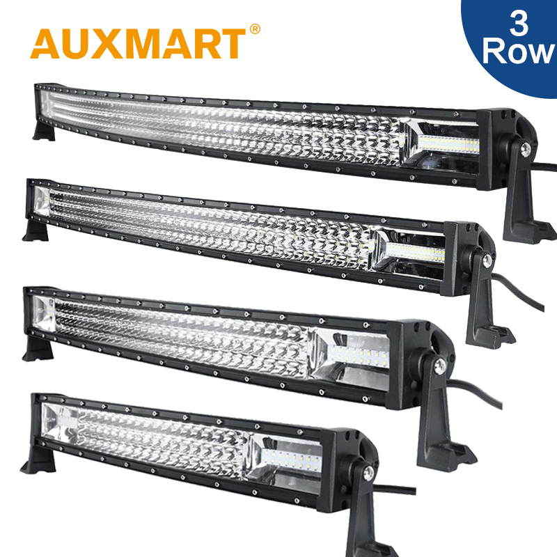 Auxmart Curved LED Work Light 52 42 32 22 3-Row Offroad LED Light Bar Fit Pickup Truck SUV 4X4 4WD Wagon Trailer