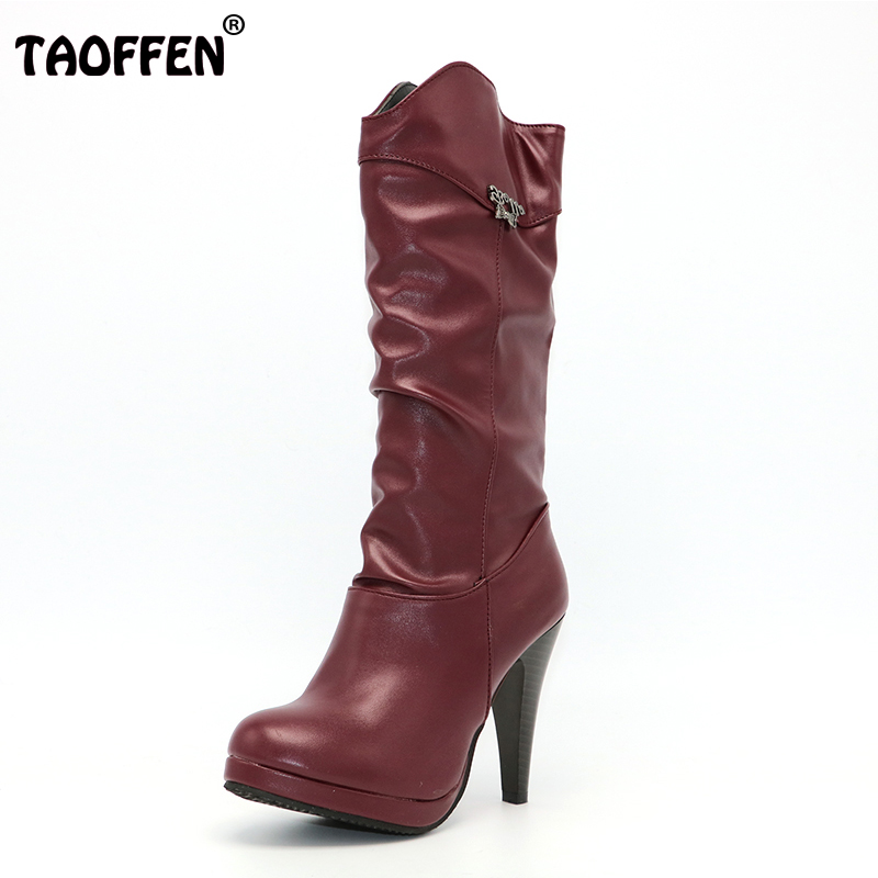 TAOFFEN Women Water Proof High Heel Mid Calf Boots Woman Round Toe Heels Shoes Good Quality