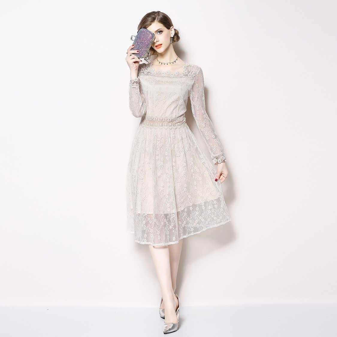 3e1f03adc862203 Белое кружевное платье Для женщин 2018 осень Рождество 3D цветок вышитые  платья вечерние элегантный халат Femme