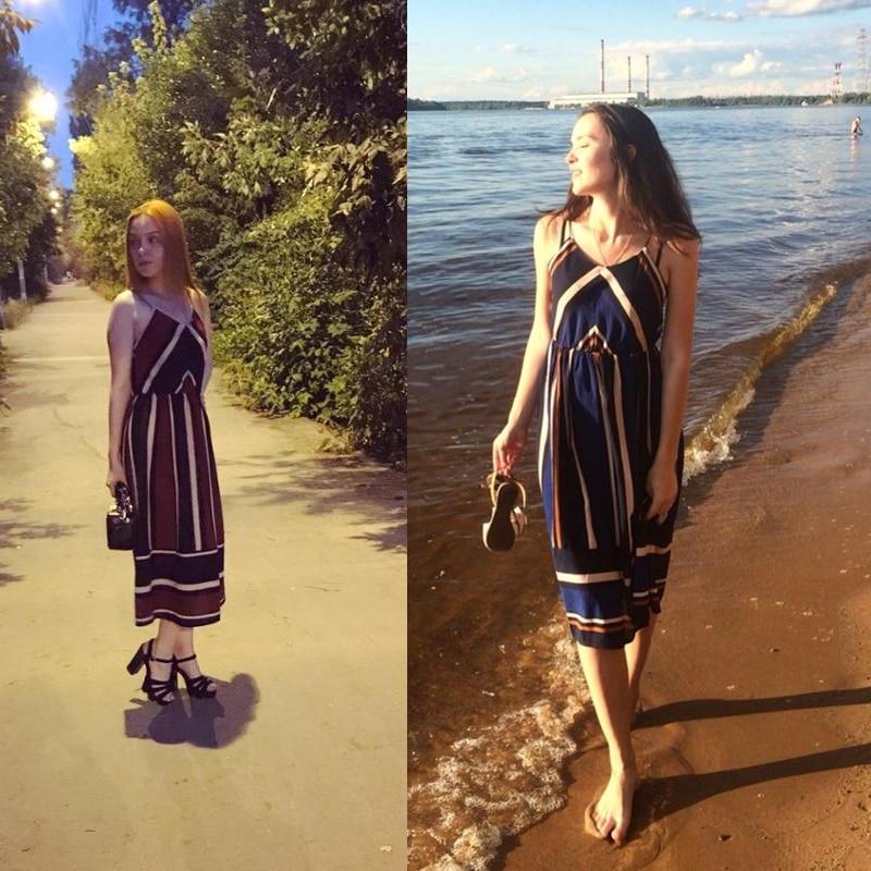 BEFORW Women Summer Beach Boho Dress Sexy Sleeveless Spaghetti Strap Maxi Dress 3 Colors Vintage Stripe Long Dress Vestidos XL