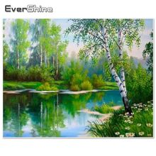 EverShine Diamond Embroidery Landscape Diamond Painting Full Square Picture Rhinestones Diamond Mosaic Full Set Sale Birch Tree(China)