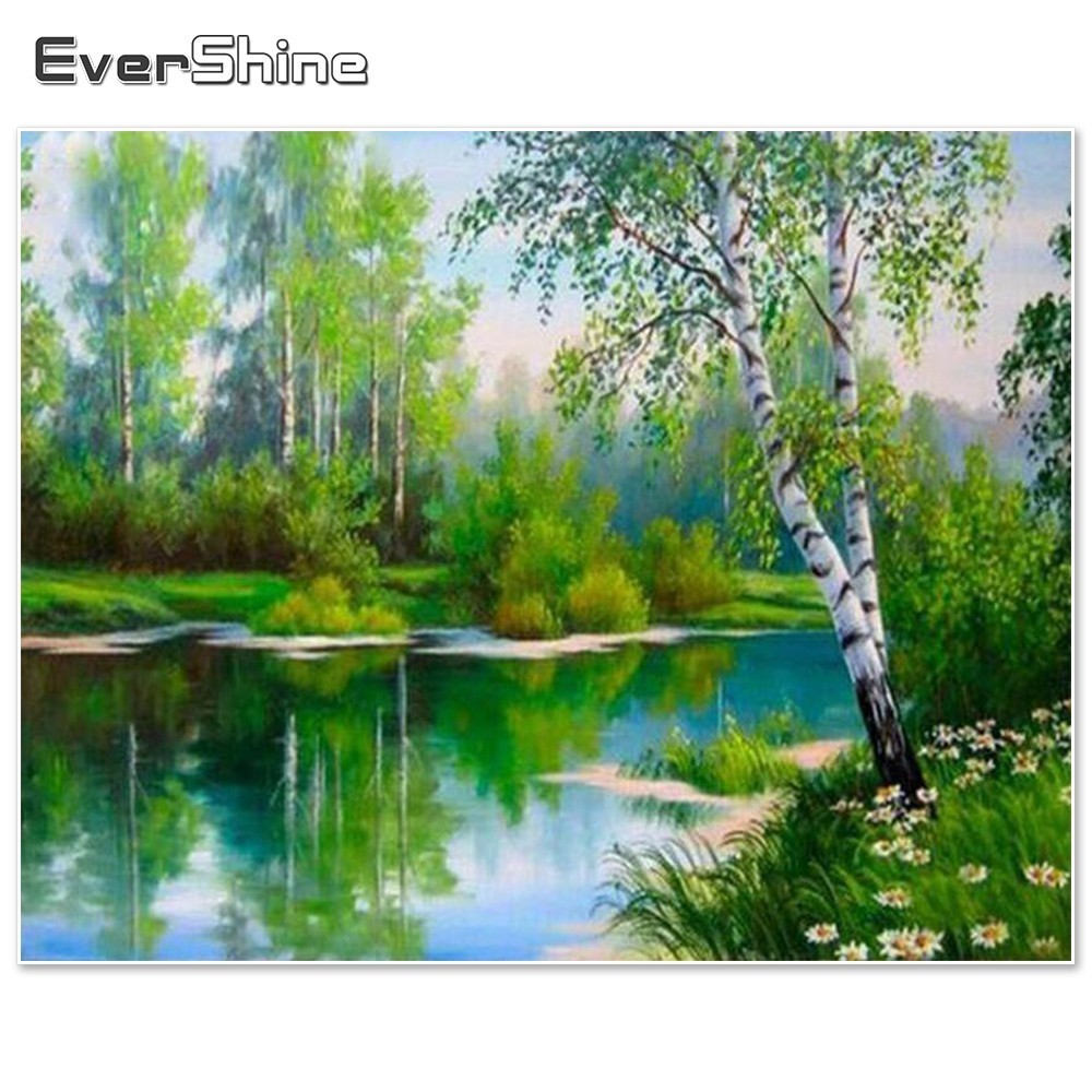 EverShine Diamond Vez Pejzaž Full Square Kit Diamond Slikarstvo Scenic Pictures Rhinestones Diamond Mosaic Home Decor