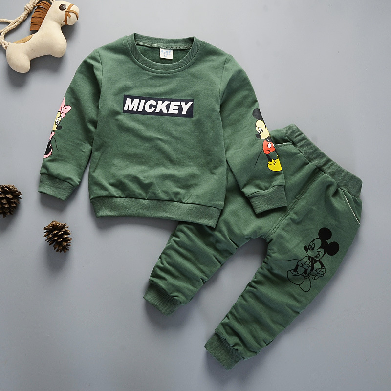 2018 Autumn Newborn Baby Girl Boy Clothes Cute Print Cartoon Long-sleeve T-shirt Tops+Pants Kids Bebes Jogging Tracksuit