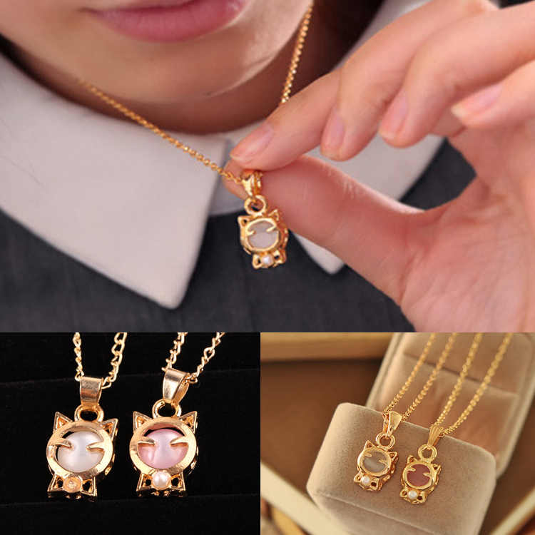 2018 New Fashion Fine Jewelry Gold Color Beads Opal Smile Lucky Cat Clavicle Chain Necklaces & Pendants For Women