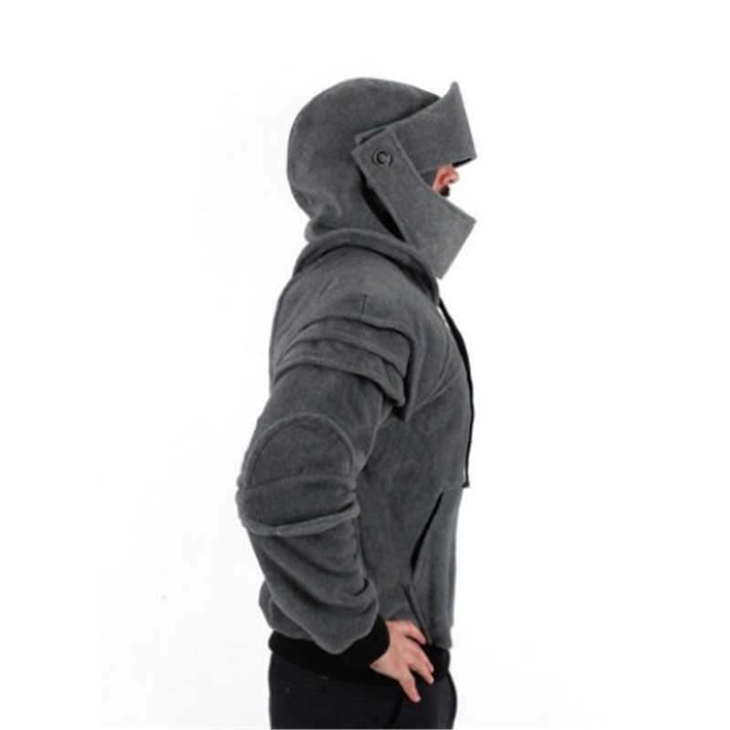 32050a67c25 ... Hoodies Solid Color Men Retro Elbow Guard Drawstring Mask knight  Sweatshirt Halloween Women Men Cool BOOCRE ...