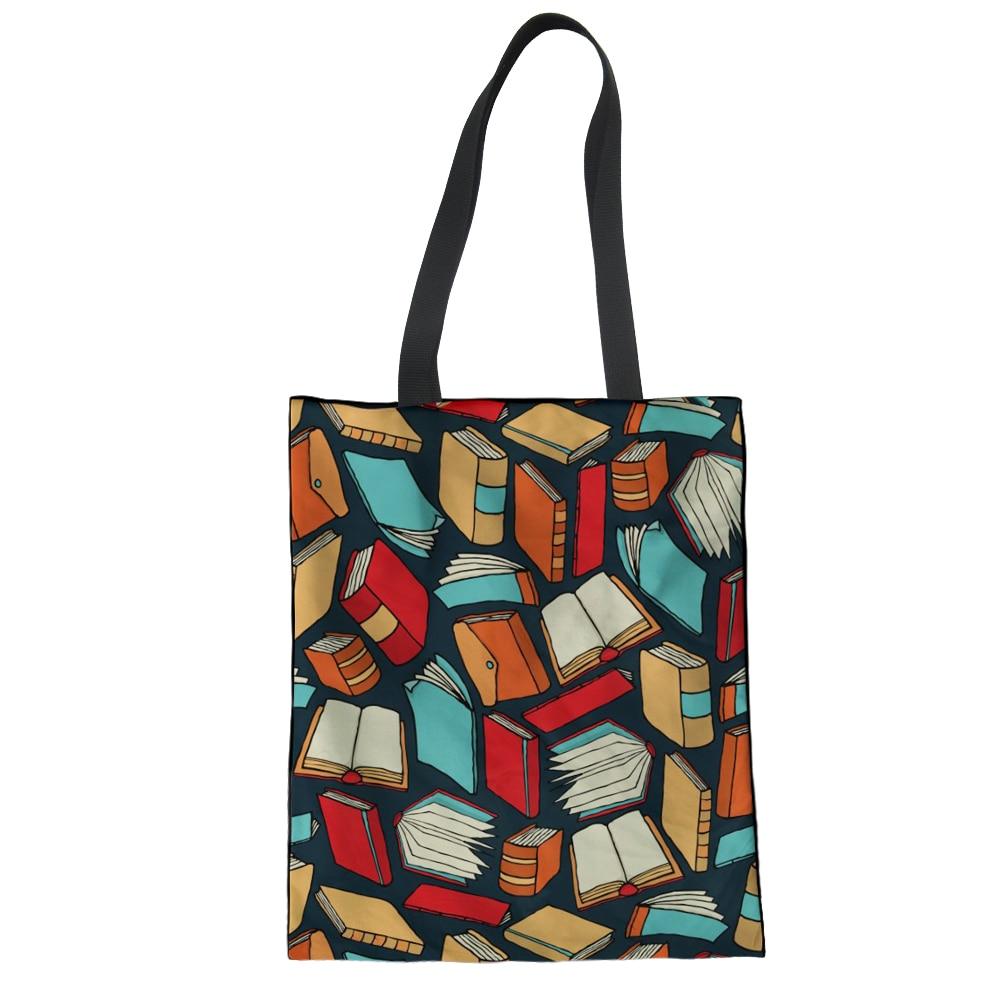 d6f5391ca7 FORUDESIGNS Books Canvas Handbag Shoulder Bag Women Library Funny Meduim  Top-handle Bag for School