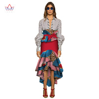 BRW Ladies Skirts Africa Style Mermaid Skirt Floral Long Skirts Summer Dashiki African Print Plus Size Women Clothing 6XL WY2669