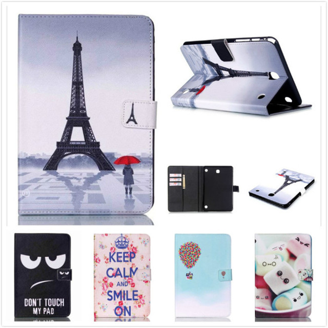 Smart Stand Tablet Case for Samsung Galaxy Tab A 8.0 SM-T350 T355 Cute Kids Case Flip Cover Screen Protective Film