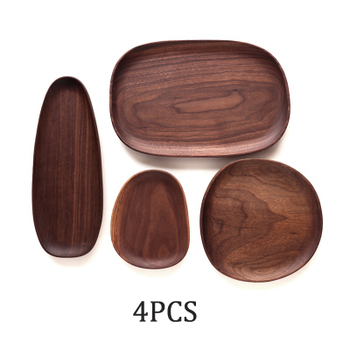 Whole Wood lovesickness Wood Irregular Oval Solid Wood Pan Plate Fruit Dishes Saucer Tea Tray Dessert Dinner Plate Tableware Set 12