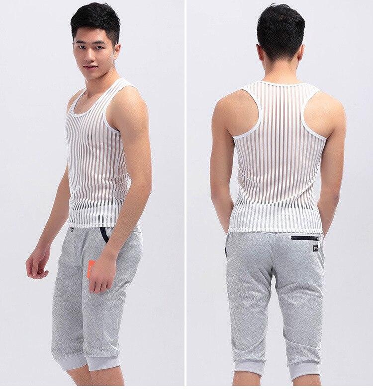Sexy Ondergoed Gay Kleding Streep Mesh Netto Shirts Mode Man Kleren Undershirts Vest G-ym Streep See Through Tank Tops FX1022