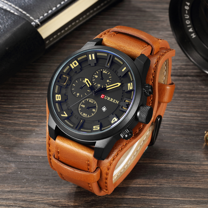 Leather Strap Waterproof Sport Men Quartz Watches Military Male Clock