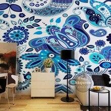 Dropship Fatman papel pintado flores Mural personalizado papel tapiz Vintage diseño azul Sudeste asiático alta calidad Carta Da Parati