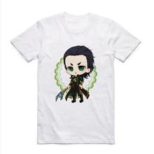 Super Hero Series Captain America Iron Man Hulk Loki Funny cartoon Patterned Summer T-shirt with Round Collar