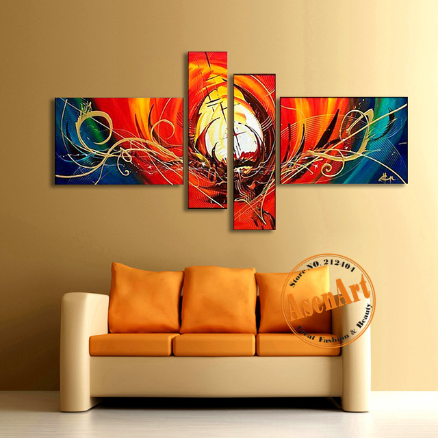 Abstract canvas oil painting handmade modern abstract wall art picture large red paintings for for Best paintings for living room