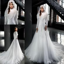 2017 White High Neck Arab Wedding Dresses A Line Long Sleeves Lace Muslim Hijab Wedding Dress