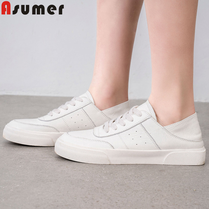 ASUMER 2019 fashion new flats women round toe lace up genuine leather shoes women casual comfortable