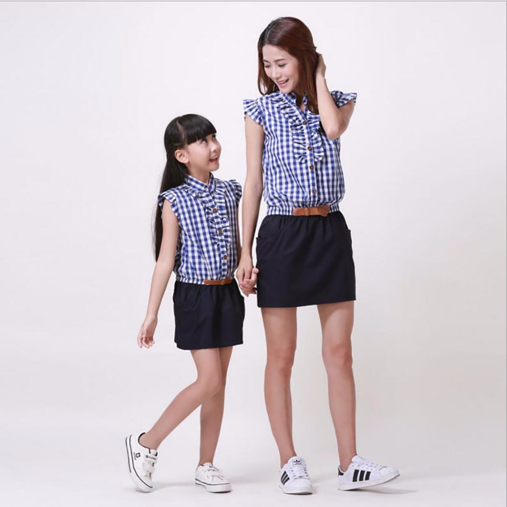 2016 Mother daughter matching dresses summer style mommy and me clothes women Belt dress skirtsFamily Clothing Set 2 colors K6 ...