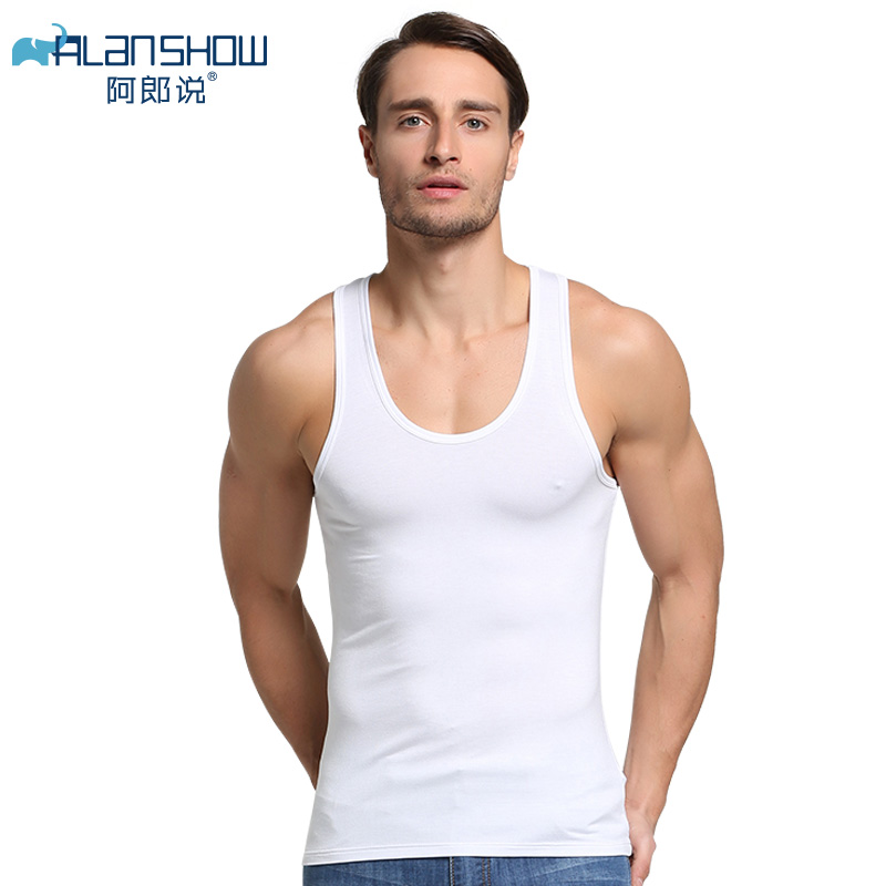 Alanshow Men Cotton Tank Tops Underwear Mens Undershirt Transparent Shirts Male Gym Shirt Fitness Wrestling Singlets