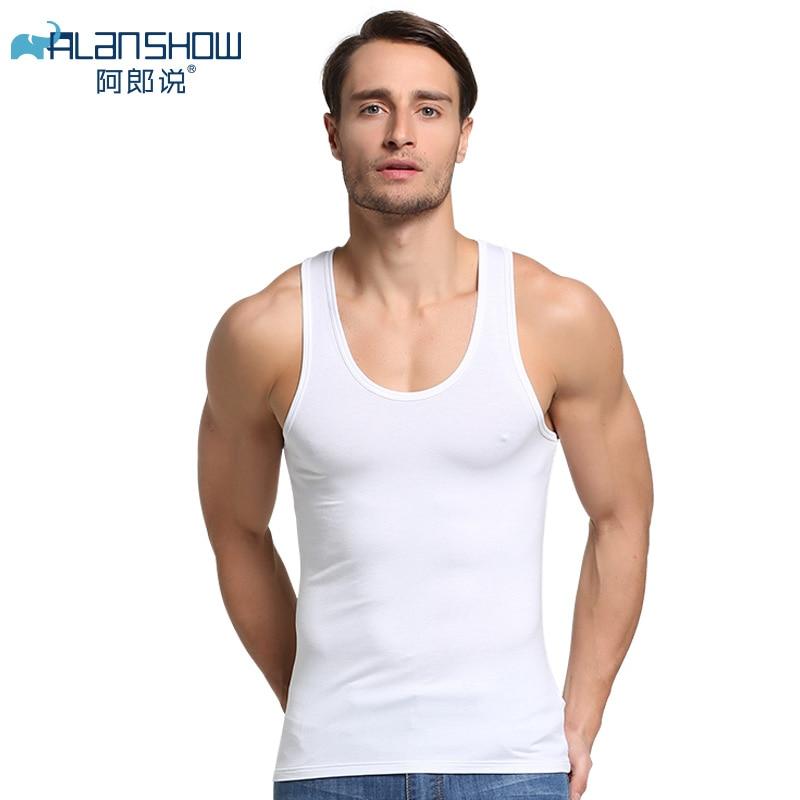 Alanshow Men Cotton Tank Tops Underwear Mens Undershirt Transparent Shirts Male Gym Shirt Fitness Wrestling Singlets