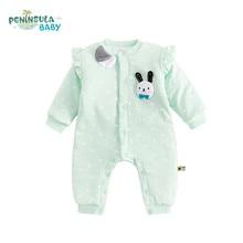 Фотография Baby Rompers Autumn Winter Warm Baby Clothing Boy Girls Long Sleeves Cotton Cartoon Rabbit Jumpsuit Fashion Newborn Baby Costume