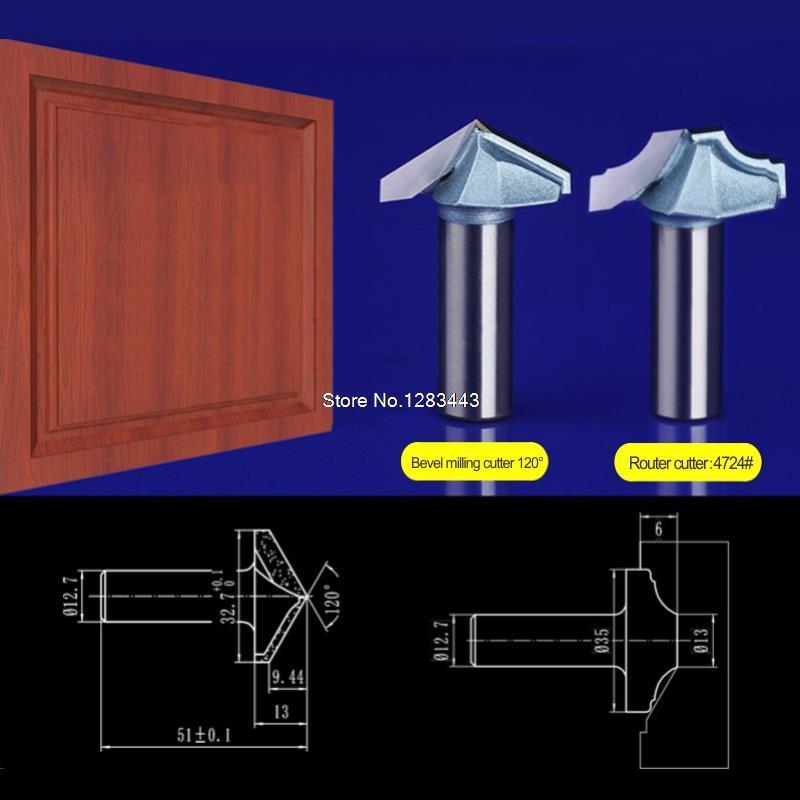 2pcs set 12 7 32 7mm Bevel milling cutter 12 7 35mm Door frame font b