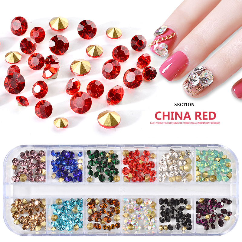 12 Grids Transparent Crystal Nail Art Decorations Uv Gel  Polish Glass Diamonds 3d Manicure Stickers Diy Accessory New Shiny Tip beauty girl 2017 wholesale excellent 48bottles 3d decal stickers nail art tip diy decoration stamping manicure nail gliter