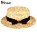 Primavera verano de moda de verano plana sombreros para las mujeres y los niños Contratados parasol sombrero turismo NIÑAS sombrero canotier