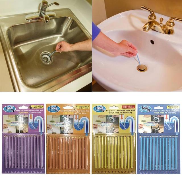 12 pièce/ensemble bâtons de nettoyage Drain nettoyant égout nettoyage tige maison nettoyage outils essentiels cuisine évier Filt ménage nettoyage