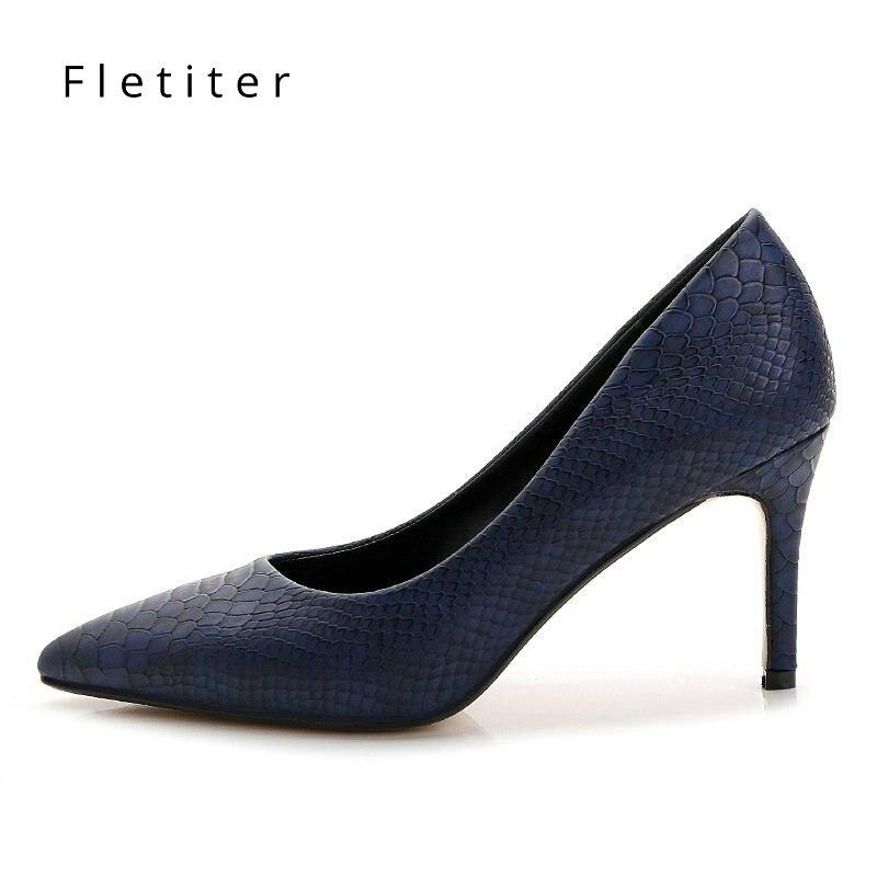 Women Shoes High Heels leather dress pumps shoe Ladies Pointed Toe Elegant Work Blue Pumps Genuine Leather shoes womens Fletiter