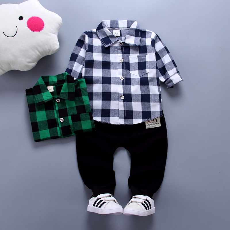 Children Clothing Handsome Boys 2pcs Suit Long-sleeve Shirts+Trousers Lapel Plaid Polo Shirt + Sports Pants Baby Boy Two-piece
