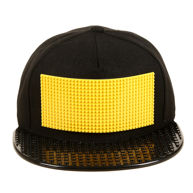 New Fashion Design DIY Detachable Trucker Snapback Hats For Men Summer Legoes Mosaics Brick Hat for Women Black Caps [HUL198]
