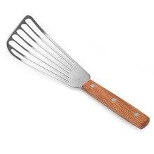 Лопаточка для рыбы, металлическое лезвие из нержавеющей стали с деревянной ручкой, тюнер для рыбы, посуда для кухни, инструмент для приготовления пищи